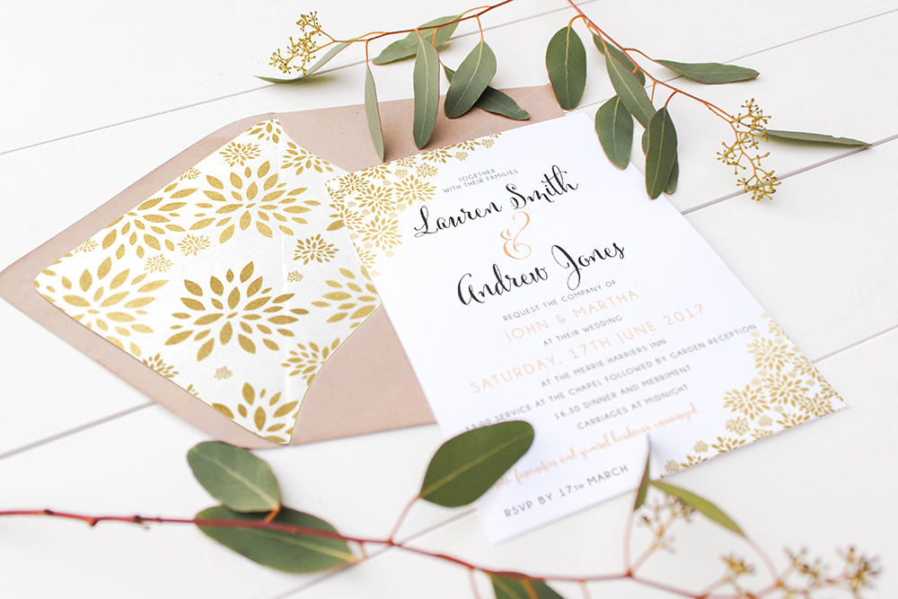 Peach and gold wedding invitation set